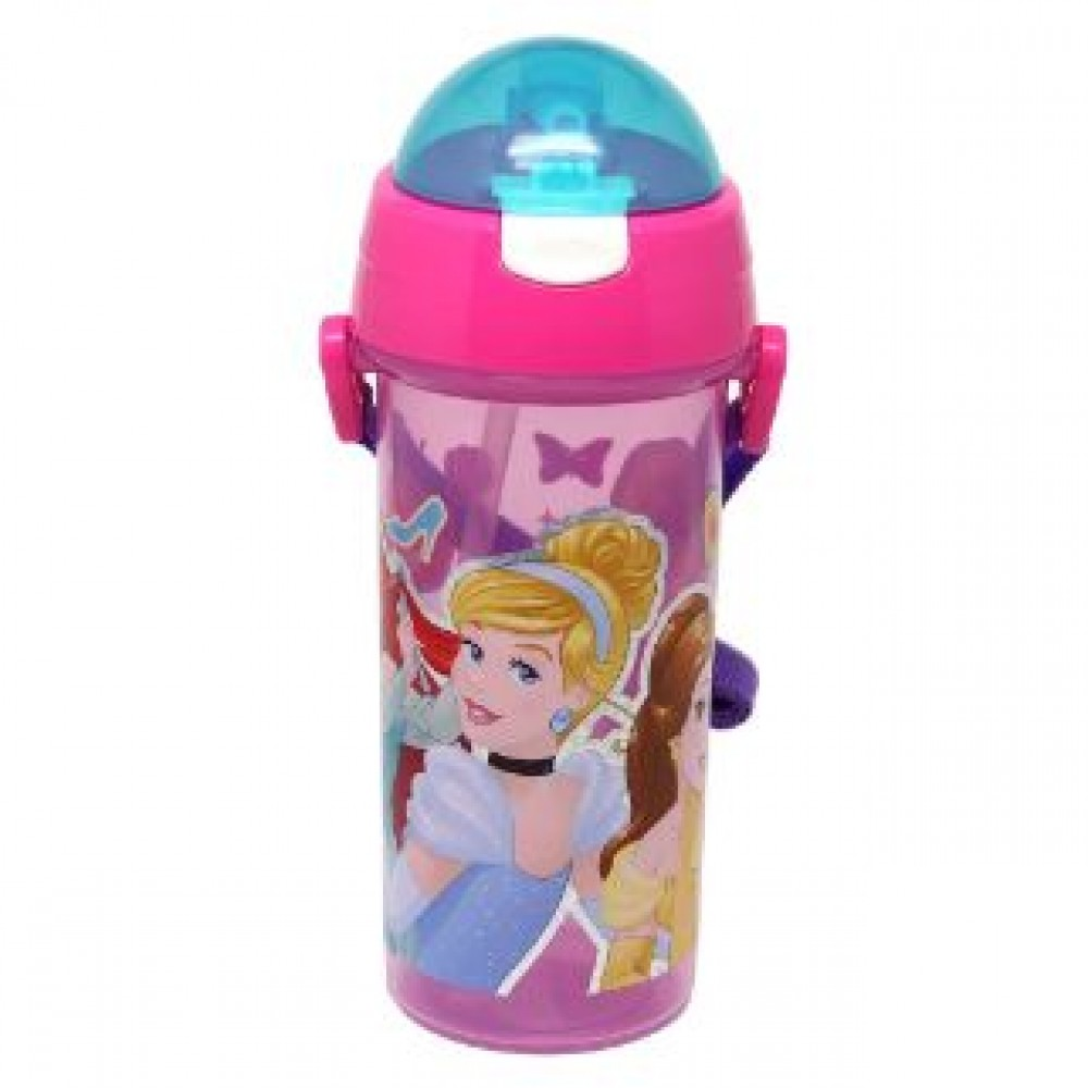 PRINCESS WATER BOTTLE WITH STRAW 600ML