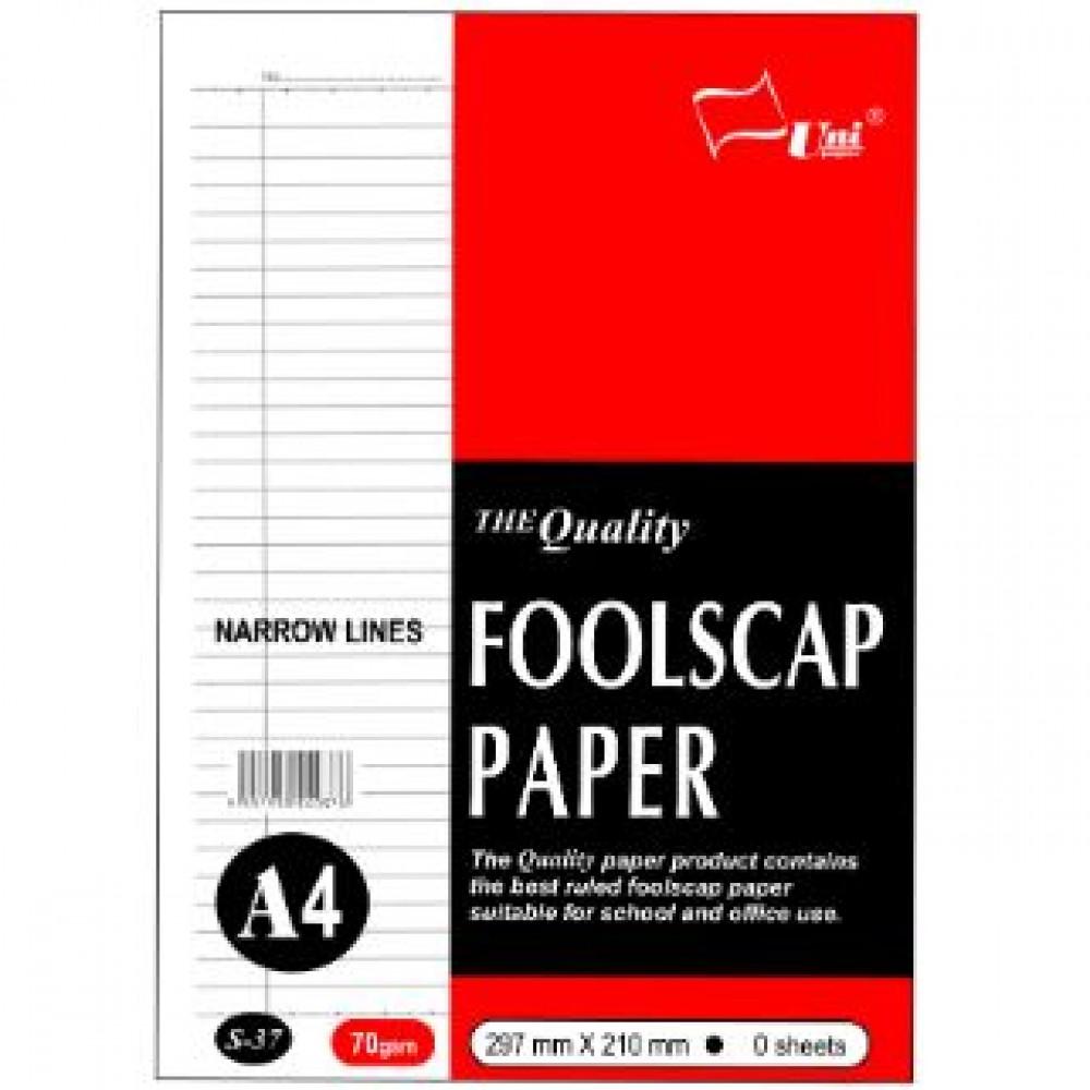 UNI S37 Foolscap Paper (Narrow Lines) A4 70gsm 100 sheets