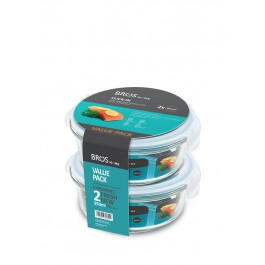 BROS CLICK-IN ROUND GLASS CONTAINER 950ML 2PCS SET