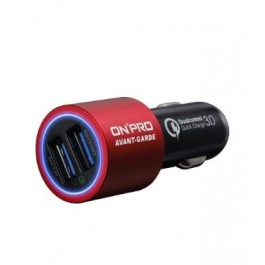 ONPRO GT-2PQC3 DUAL USB CAR CHARGER RED