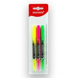MONAMI MEMORY-S Highlighter 3s ( Yellow Pink Green )