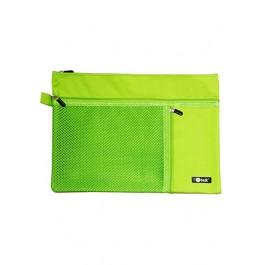 POP BAZIC 3 POCKETS ZIPPER BAG A4 APPLE GREEN