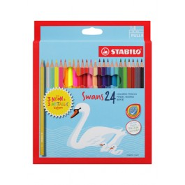 STABILO SWANS WITH NEON & METALLIC COLOURED PENCILS - 24 COLOURS
