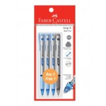 FABER-CASTELL Grip X Ball Pen 0.5mm 4 Pieces in Pack – 3 Blue & 1 Black