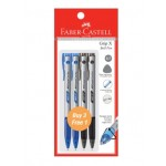 FABER-CASTELL Grip X Ball Pen 0.7mm 4 Pieces in Pack – 2 Blue & 2 Black