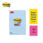 """3M POST-IT SUPER STICKY LINED NOTES 4""""X6"""" 90'S CLOUD BLUE"""