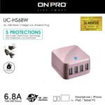 ONPRO UC-HS68W 4 USB 6.8A UNIVERSAL TRAVEL ADAPTER ROSE GOLD