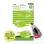 PLUS WHIPER SLIDE CORRECTION TAPE REFILLS 36M x 5m (3 in 1) FREE APPLICATOR