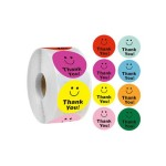 GIFT WRAP STICKER ROLL- THANK YOU SMILEY FACE
