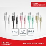 CLIPTEC OCC143 LIGHTNING CABLE 1METRE GREY