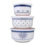 CERAMIC BOWL SET WITH LID 3IN1 CY-7655