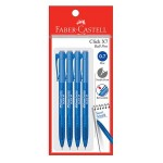 FABER-CASTELL Click X7 Ball Pen 4 Pieces in Pack - Poly Blue