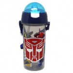 TRANSFORMER WATER BOTTLE WITH STRAW 600ML