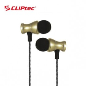 CLIPTEC BME801 MAGNETUCA METAL EARPHONE  GOLD