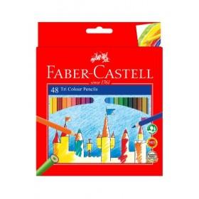 FABER-CASTELL TRI COLOUR PENCILS - 48 LONG